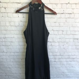 A.J. BARI Black Dress with Sequent Details Size 8
